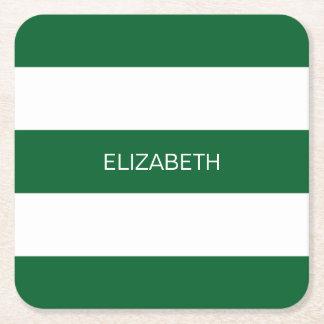 Forest Gr Wht Horiz Preppy Stripe #3 Name Monogram Square Paper Coaster