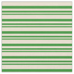 [ Thumbnail: Forest Green and Beige Stripes/Lines Pattern Fabric ]