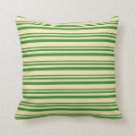 [ Thumbnail: Forest Green and Beige Stripes/Lines Pattern Throw Pillow ]