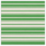 [ Thumbnail: Forest Green and Bisque Lined/Striped Pattern Fabric ]