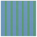 [ Thumbnail: Forest Green and Blue Stripes/Lines Pattern Fabric ]