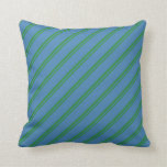 [ Thumbnail: Forest Green and Blue Stripes/Lines Pattern Pillow ]