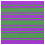 [ Thumbnail: Forest Green and Dark Violet Colored Lines Fabric ]