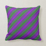 [ Thumbnail: Forest Green and Dark Violet Colored Lines Pillow ]