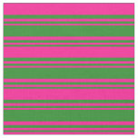 [ Thumbnail: Forest Green and Deep Pink Stripes/Lines Pattern Fabric ]