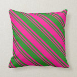 [ Thumbnail: Forest Green and Deep Pink Stripes/Lines Pattern Throw Pillow ]