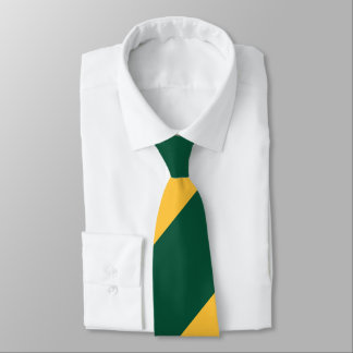 Forest Green and Gold Broad Regimental Stripe Neck Tie
