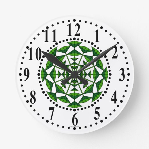Forest Green And Green Floral 171 Wall Clock