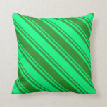 [ Thumbnail: Forest Green and Green Lines Pattern Throw Pillow ]