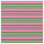 [ Thumbnail: Forest Green and Hot Pink Lines/Stripes Pattern Fabric ]
