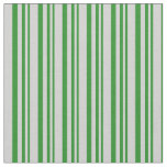 [ Thumbnail: Forest Green and Light Grey Striped Pattern Fabric ]