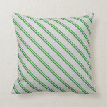 [ Thumbnail: Forest Green and Light Grey Striped Pattern Pillow ]