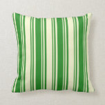 [ Thumbnail: Forest Green and Light Yellow Colored Lines Pillow ]