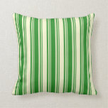 [ Thumbnail: Forest Green and Light Yellow Striped Pattern Throw Pillow ]