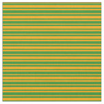[ Thumbnail: Forest Green and Orange Colored Pattern Fabric ]