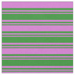 [ Thumbnail: Forest Green and Orchid Colored Lines Fabric ]