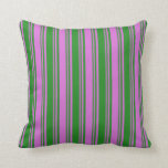 [ Thumbnail: Forest Green and Orchid Colored Lines Throw Pillow ]