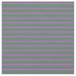 [ Thumbnail: Forest Green and Orchid Lines Fabric ]