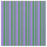 [ Thumbnail: Forest Green and Purple Colored Stripes Pattern Fabric ]
