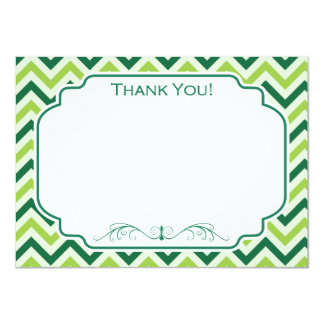 Forest Green and Sage Green Chevron Pattern Card