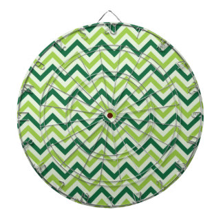 Forest Green and Sage Green Chevron Pattern Dartboard