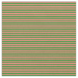 [ Thumbnail: Forest Green and Salmon Colored Lines Fabric ]