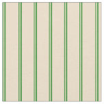 [ Thumbnail: Forest Green and Tan Colored Lined Pattern Fabric ]
