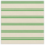 [ Thumbnail: Forest Green and Tan Colored Lines Fabric ]