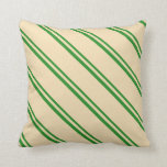 [ Thumbnail: Forest Green and Tan Colored Lines Throw Pillow ]