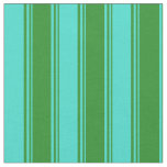 [ Thumbnail: Forest Green and Turquoise Colored Stripes Fabric ]