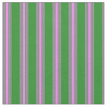 [ Thumbnail: Forest Green and Violet Striped Pattern Fabric ]