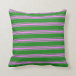 [ Thumbnail: Forest Green and Violet Striped Pattern Pillow ]