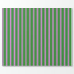 [ Thumbnail: Forest Green and Violet Striped Pattern Wrapping Paper ]
