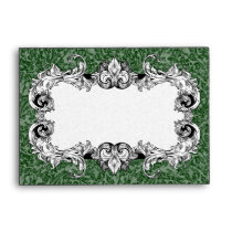 Forest Green and White A6 Gothic Baroque Envelopes