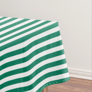 Forest Green And White Candy Stripes Tablecloth