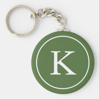 Forest Green and White Circle   Monogram Initial Keychain