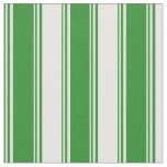 [ Thumbnail: Forest Green and White Colored Lines Pattern Fabric ]