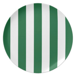 Forest Green and White XL Stripes Pattern Melamine Plate