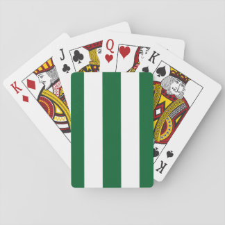 Forest Green and White XL Stripes Pattern Playing Cards