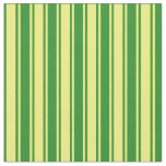 [ Thumbnail: Forest Green and Yellow Lined Pattern Fabric ]
