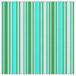 [ Thumbnail: Forest Green, Aqua, and Light Cyan Colored Lines Fabric ]