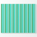 [ Thumbnail: Forest Green, Aqua, and Light Cyan Colored Lines Wrapping Paper ]
