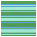 [ Thumbnail: Forest Green, Aquamarine & Blue Colored Stripes Fabric ]