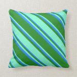 [ Thumbnail: Forest Green, Aquamarine & Blue Colored Stripes Throw Pillow ]