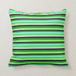[ Thumbnail: Forest Green, Aquamarine, Green, Mint Cream, Black Throw Pillow ]