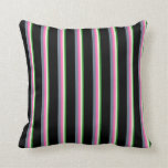 [ Thumbnail: Forest Green, Beige, Hot Pink, Slate Gray & Black Throw Pillow ]