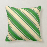 [ Thumbnail: Forest Green, Beige & Light Slate Gray Lines Throw Pillow ]