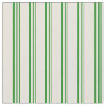 [ Thumbnail: Forest Green & Beige Lined Pattern Fabric ]