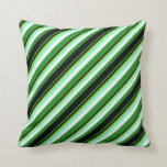 [ Thumbnail: Forest Green, Black, Green, Aquamarine, and White Throw Pillow ]