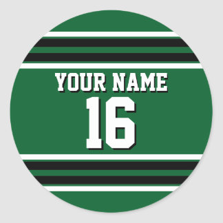 Forest Green Black Team Jersey Custom Number Name Classic Round Sticker